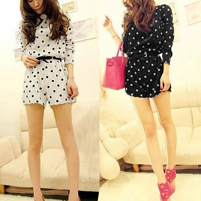 Dots-Print-Round-Neck-Zip-up-Back-Long-Sleeve-Romper-for-Women